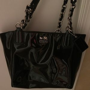 Black Shiny Coach Bag Great Condition